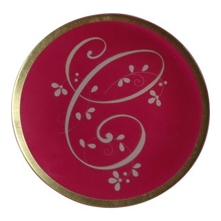 "Red Glass Monogram Initial Letter ""C"" Decorative Plate For Sale"