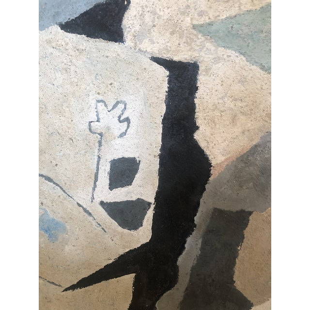 Mid-Century Modern Abstract in Soft Gray Black and Blue For Sale - Image 4 of 12