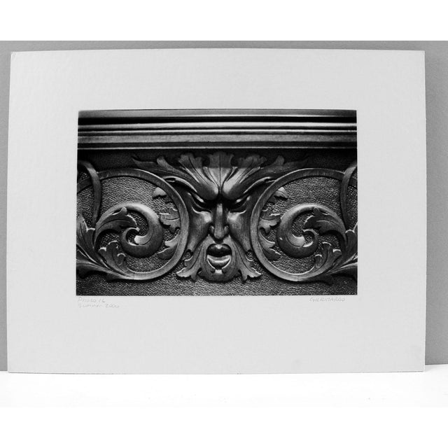Architectural detail of a carved wood grotesque black and white photograph by Gina Ribardo. Signed and titled in pencil...