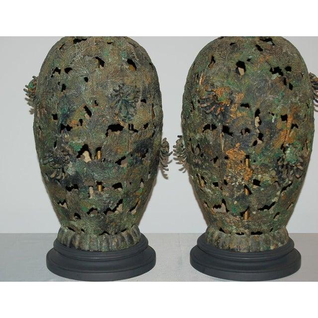 Vintage Metal Pierced Brutalist Table Lamps For Sale - Image 4 of 13