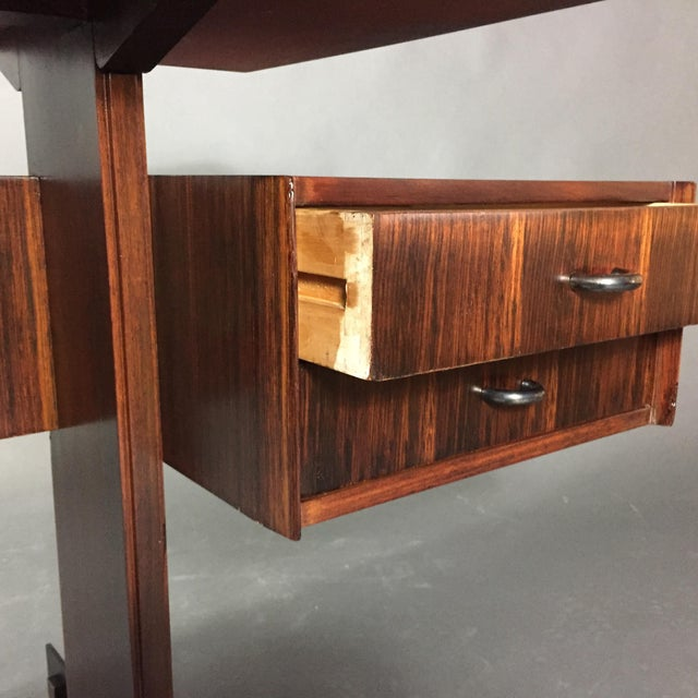 1970s Midcentury Continental Mahogany Dressing Table or Small Desk For Sale - Image 5 of 10