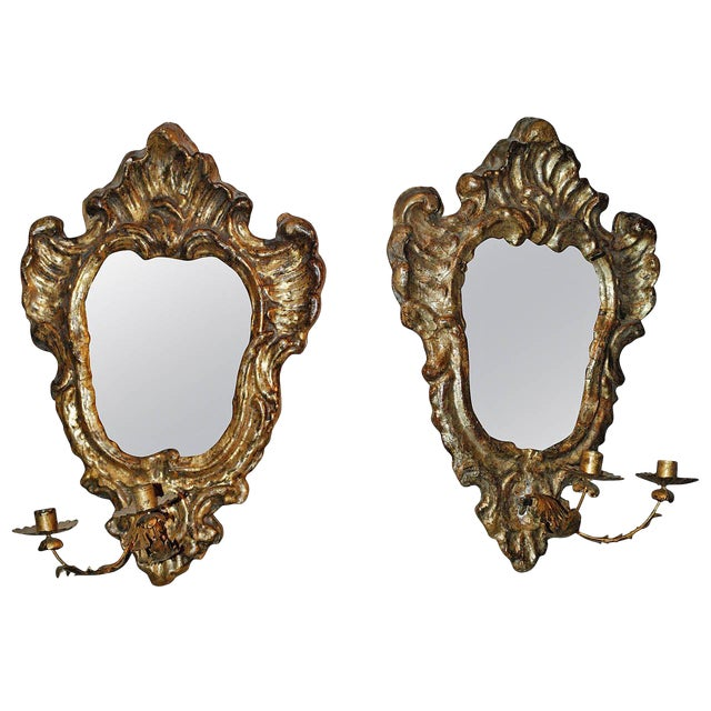 Pair of Venetian Gilted Mirrored Sconces For Sale