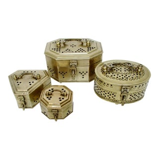 Brass Cricket Boxes - Set of 4 For Sale