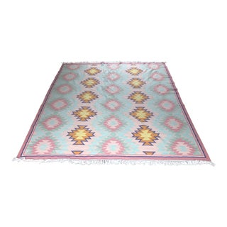 "Kilim, Lulu and Georgia Brand ""Elodie"" Flat Weave Wool Pink, Green, Gold Rug - 8″ × 10″ For Sale"