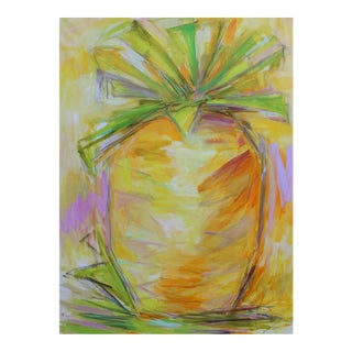"""""""Pineapple Power"""" by Trixie Pitts Large Abstract Pineapple Painting For Sale"""