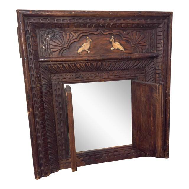 Vintage Afghan Carved Wooden Wall Shutters & Mirror For Sale