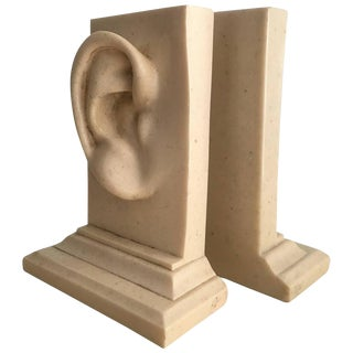 Monumental Marble Ear Bookends - A Pair