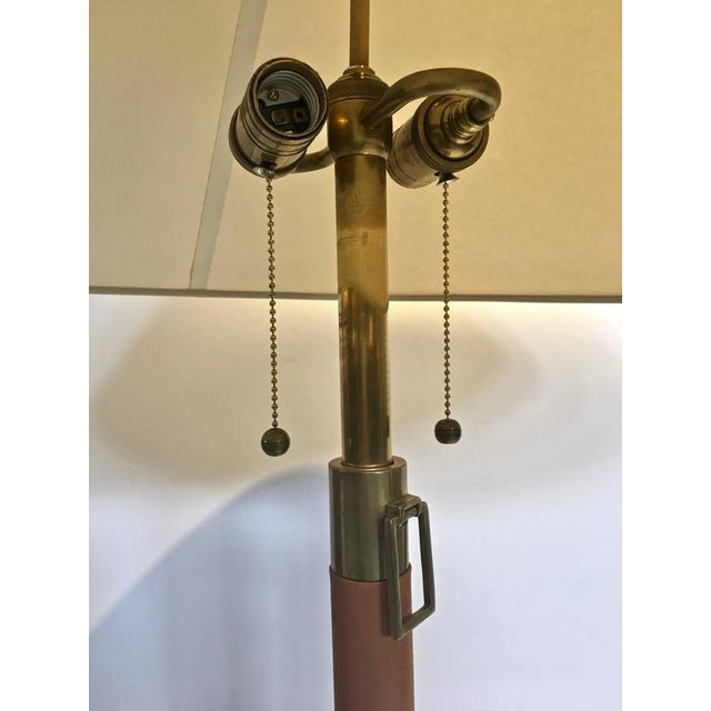Brass & Leather Wrapped Extendable Table Lamps, Manner of Adnet - A Pair - Image 6 of 9