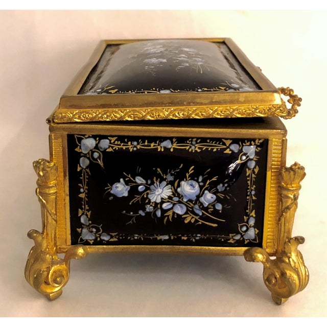 Antique French Delicate Cobalt Enamel Jewel Box, Circa 1870-1890. For Sale - Image 4 of 5