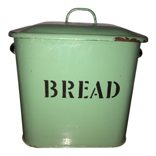 1930s English Traditional Mint Green European Enamelware Bread Box