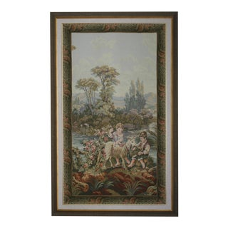 Vintage Large Professionally Framed Vibrant Harvest Toned Tapestry For Sale