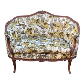 Antique Carved Mahogany Louis XV Style Settee W Iris Flowers For Sale