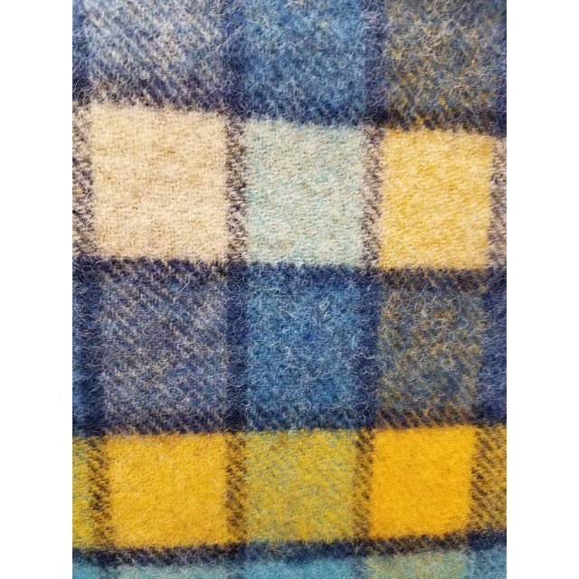 Blue Wool Throw Blues and Yellow Squares - Made in England For Sale - Image 8 of 13