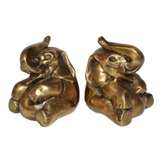 Late 20th Century Brass Elephant Bookends by Pm Craftsman - a Pair For Sale