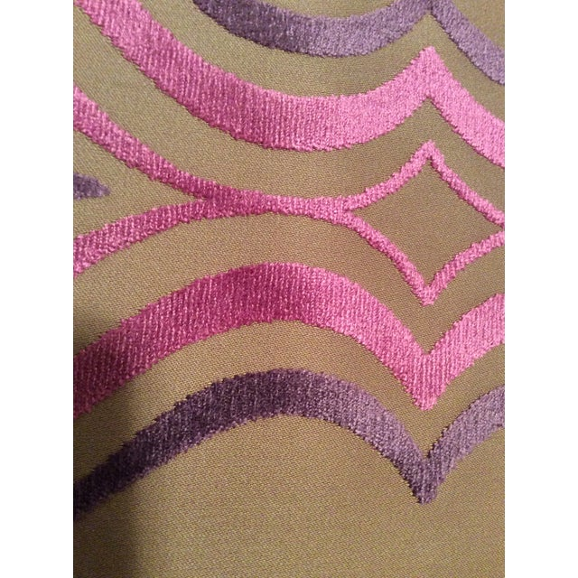 Designers Guild Tan, Pink & Purple Cut Velvet Fabric- 4 Yards - Image 4 of 5