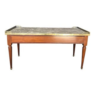 1920's French Louis XVI Style Walnut and Marble Coffee Table For Sale