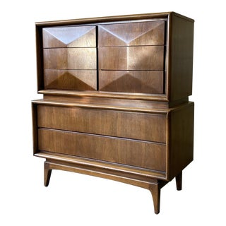 Mid Century Modern Walnut Diamond Front Dresser For Sale