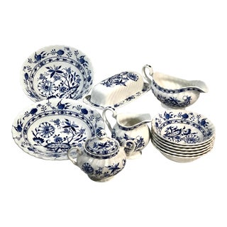 Staffordshire Vintage Blue Lily Blue Onion Serving Pieces and Bowls - 14 Pieces For Sale