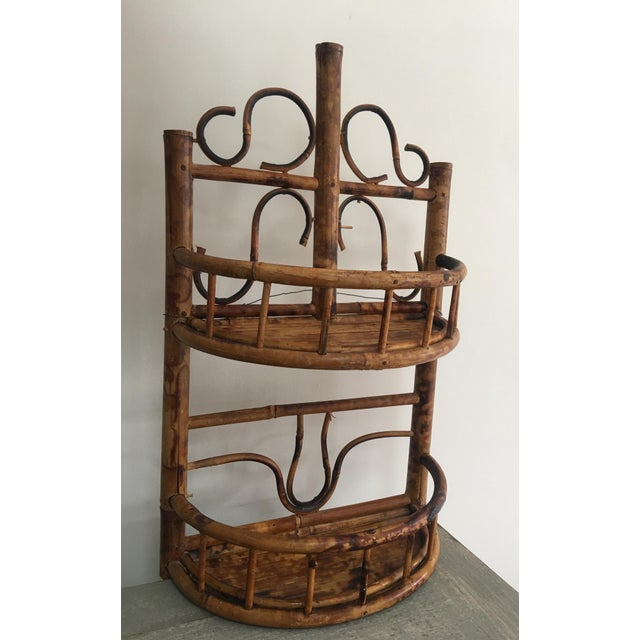 1970s Vintage Chinoiserie Tortoise Shell Burnt Bamboo Wall Shelf For Sale - Image 5 of 10