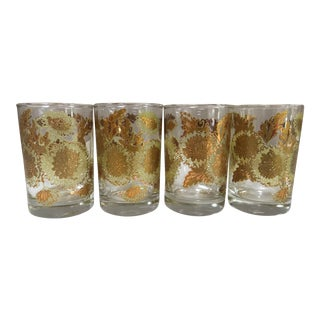 Mid-Century Modern Bartlett Collins Gold Chrysanthemum Juice Glasses, Set of 4 For Sale