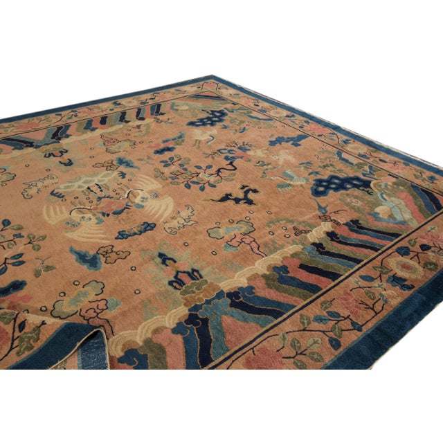 Antique Peach Peking Chinese Room Size Wool Rug 9 Ft X 11 Ft 9 In. For Sale - Image 10 of 11