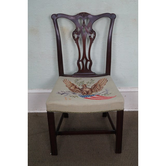 High quality American made, carved mahogany side chair with needlepoint seat. AGE/COUNTRY OF ORIGIN: Approx 100 years,...