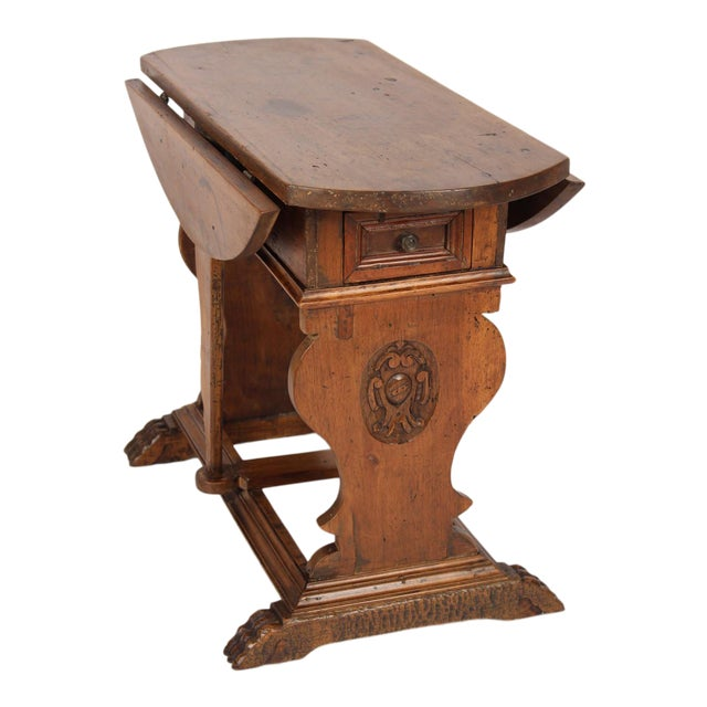 Baroque Style Drop Leaf Side Table For Sale
