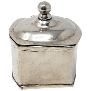 Vintage Sterling Silver Handcrafted Tea Caddy For Sale