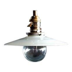 1920s Industrial Milk Glass Pendant Light For Sale