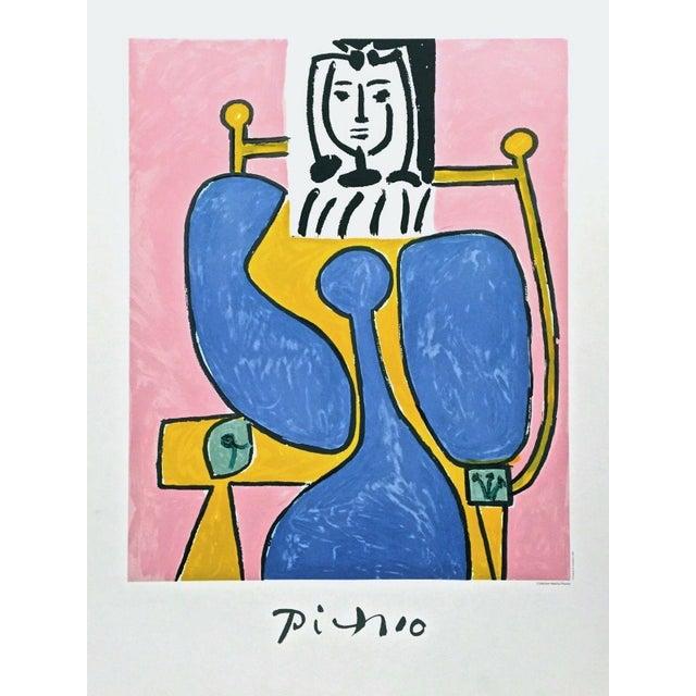 "1981 ""Femme Assise a La Robe Bleu"" Limited Edition Lithograph After Pablo Picasso For Sale"
