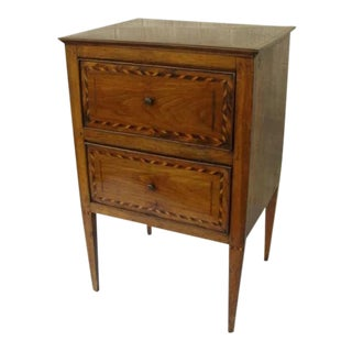 Italian InlaidTwo Drawer Side Table For Sale