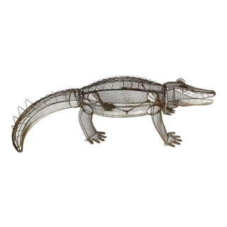 1960s Life-Size Kinetic Wire Alligator Sculpture For Sale