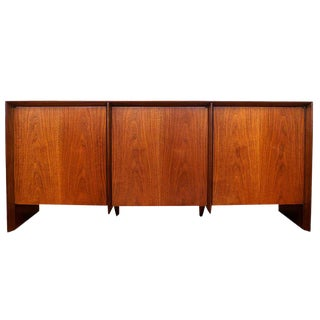 t.h. Robsjohn-Gibbings for Widdicomb Three-Door Walnut Credenza Cabinet For Sale