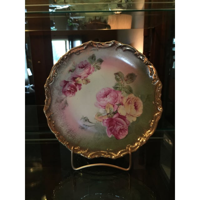 Exquisite antique Wheelock Germany porcelain hand painted roses small plate. Made in Germany, dated late 1800's-early...