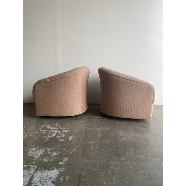Modern Pair of 1980s Barrel Chairs For Sale - Image 3 of 9