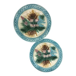 Majolica Floral Basketweave Pattern Ceramic Plates - Set of 2
