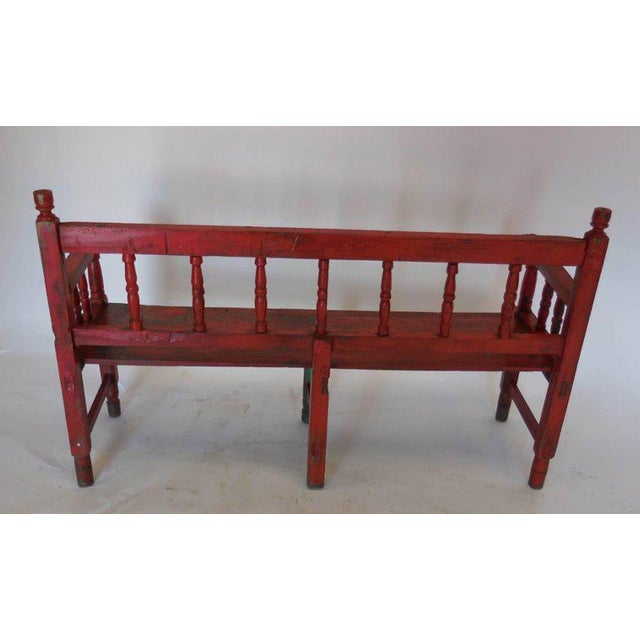 Small Vintage Painted Carved Bench For Sale - Image 4 of 8