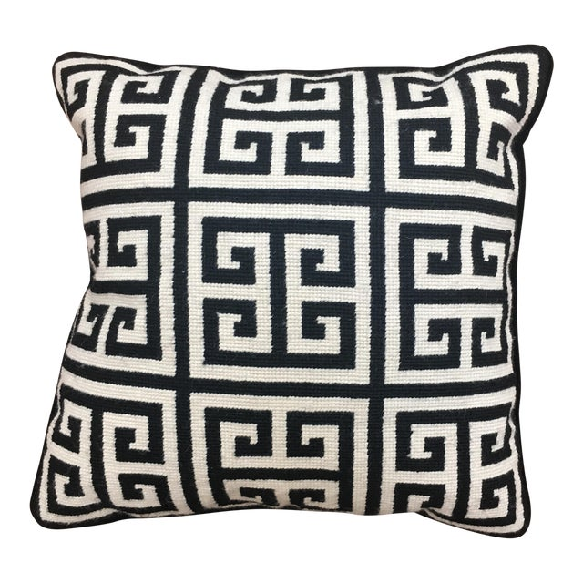 Jonathan Adler Greek Key Black and White Needlepoint Pillow For Sale