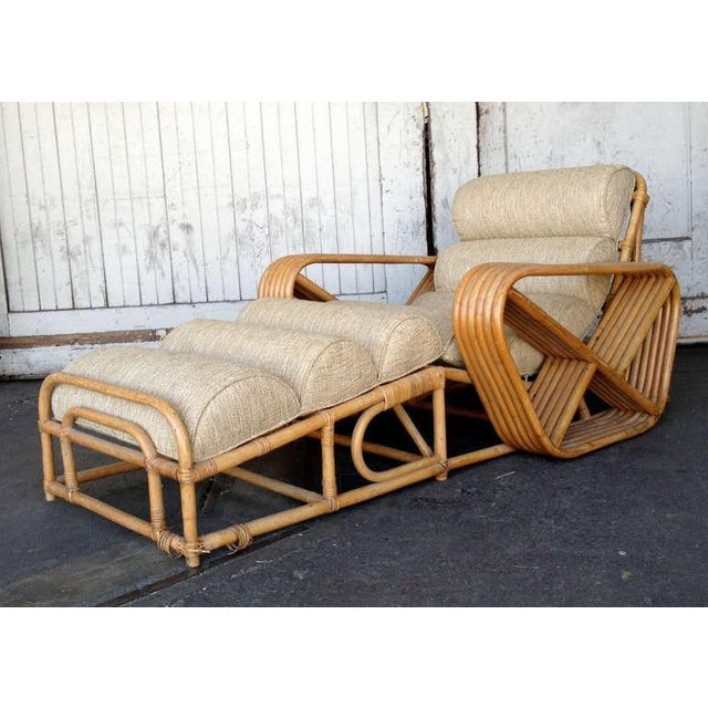 Paul Frankl Rare Restored Pair of Paul Frankl Rattan Chaise Lounge Chairs w/ Pretzel Arms For Sale - Image 4 of 5