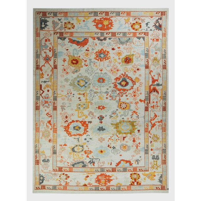 Turkish Oushak Rug With Red & Yellow Floral Details on Ivory Field For Sale - Image 10 of 10