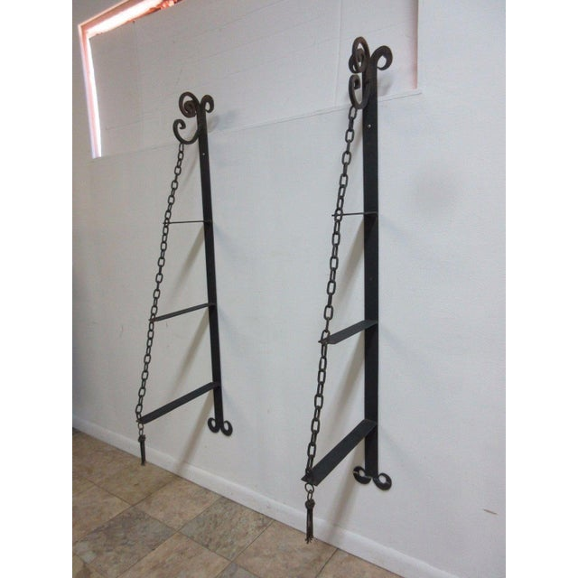 Vintage Gothic Wrought Iron Curio Display Shelf Brackets - a Pair For Sale - Image 4 of 11