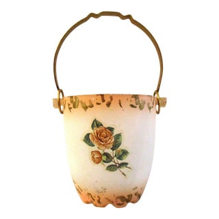 Mid-Century Murano Cottage Rose Ice Bucket For Sale