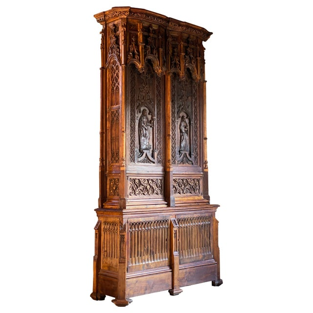 Gothic Revival Oak Cupboard Heavily Carved, circa 1850 For Sale - Image 13 of 13