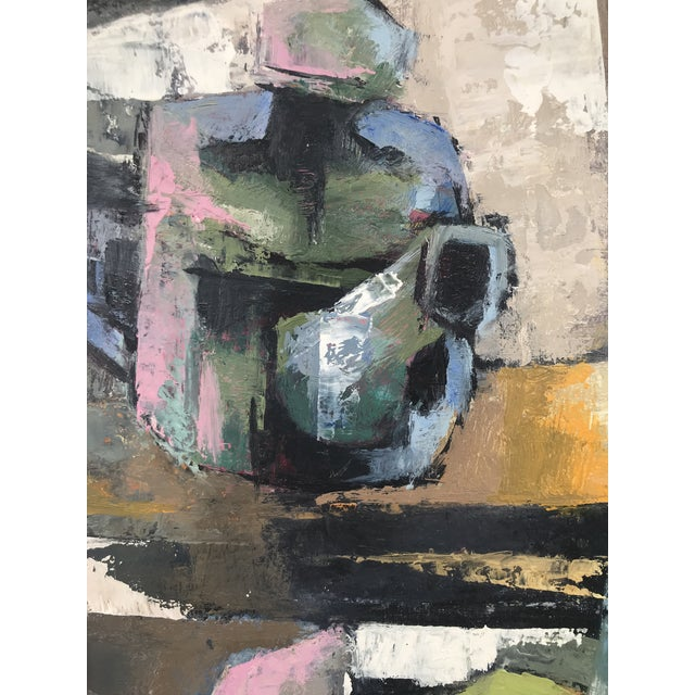 1960s Vintage Lewis Adler Original Oil on Canvas Cubist Still Life Painting For Sale - Image 4 of 7