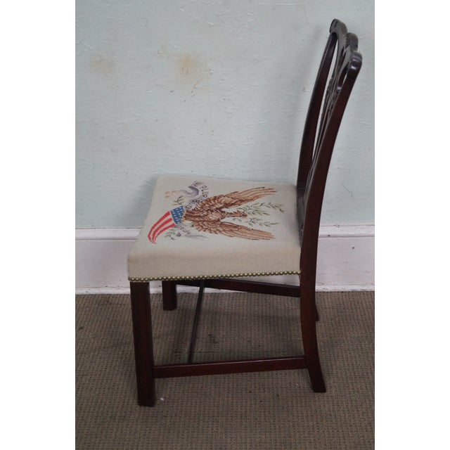Antique Chippendale Style Eagle Needlepoint Side Chair For Sale - Image 5 of 10