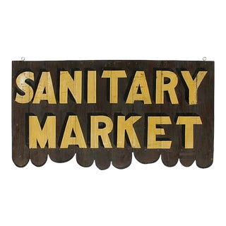 1940s Vintage Wood Sanitary Market Sign For Sale