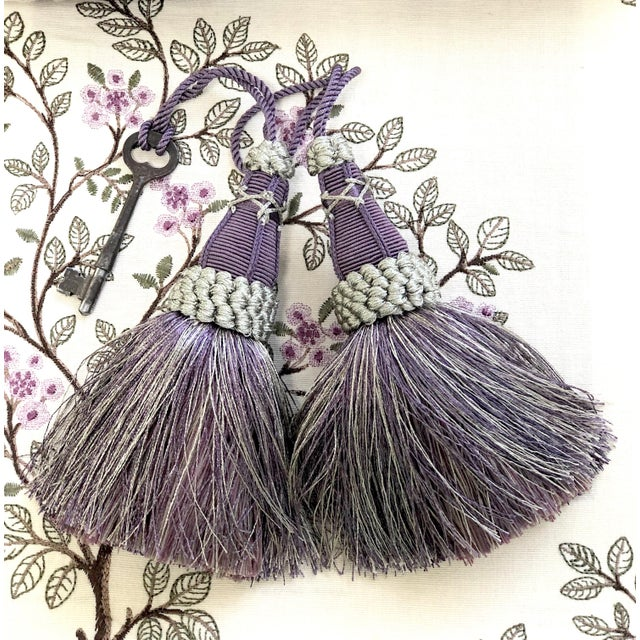 Amethyst Key Tassels in Amethyst and Gray With Ruche Trim - a Pair For Sale - Image 8 of 12