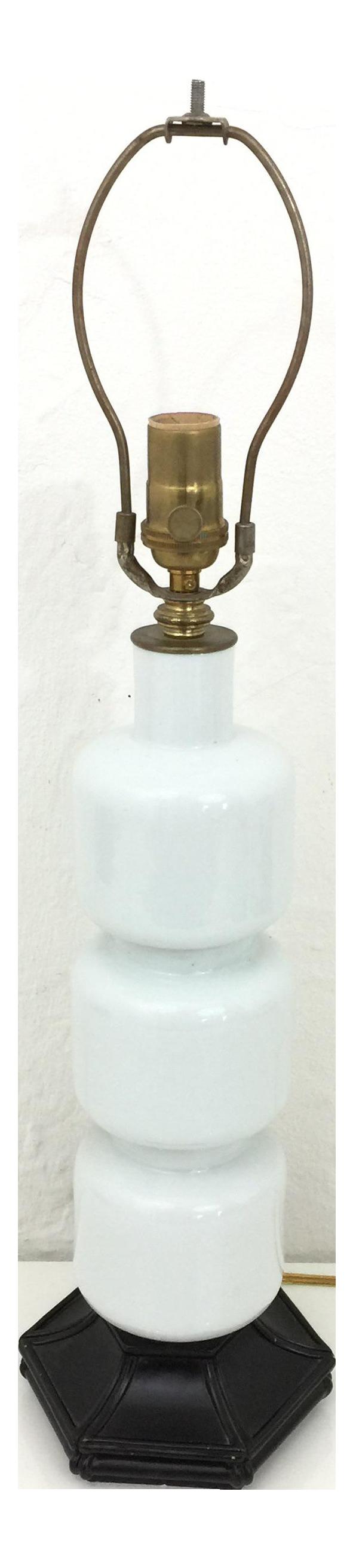 Mid Century Modern Milk Glass Bamboo Wood Base Table Lamp Chairish