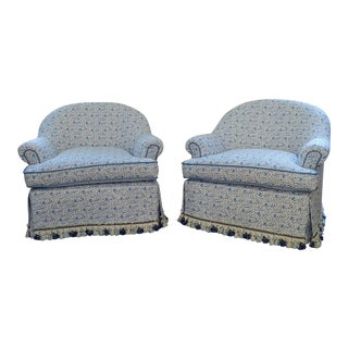 Custom Upholstered Bunny Tub Chairs - a Pair For Sale