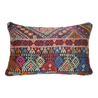 Vintage Turkish Kilim Rug Pillow With Cicim Patterns 16'' X 24'' (40 X 60 Cm) For Sale